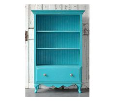 "Bookcase with Drawer in Distressed Vintage Turquoise 450.00 // aliyahrosekids / at sutter place mall /  Height: 54"" Width: 32"" Depth: 15""  Depth of Shelves: 12.25"""