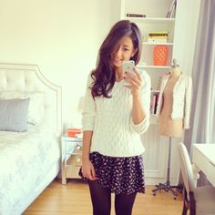 Skater Skirt + Tights + Knit Sweater <3 mimi ikonn style