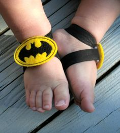 READY TO SHIP ... Baby Barefoot Sandals ... Batman Sandals .. Toddler Sandals .. Newborn Sandals..Boy Barefoot Sandals. $6.50, via Etsy.