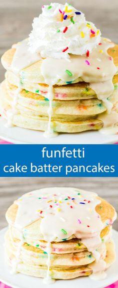 funfetti pancakes/ birthday pancakes recipe / easy birthday breakfast / cake batter pancakes / pancakes from cake mix / sprinkles / dessert via @tastesoflizzyt