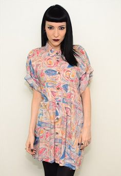 Vintage 90's Funky Abstract Pattern Slouch Shirt Dress