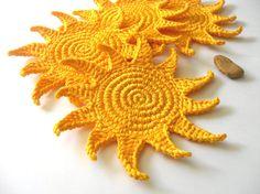 Sun Crochet Coasters