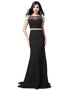 Formal Evening Dress - Black Plus Sizes / Petite Trumpet/Mermaid Bateau Floor-length Jersey