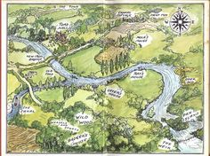The map showing the way to Toad Hall..and all the landmarks of the story...E.H.Shepard, endpapers to The Wind in the Willows, 1931 and 1971