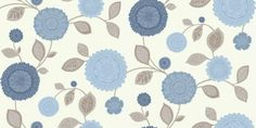 Tropicana Motif Blue (410700) - Arthouse Wallpapers - A pretty decorative ethnic style floral trail with a soft brown trail and misty blue flowers on a lustre background. Please request sample for true colour match.