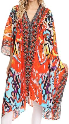 14854257f6 Sakkas Libra Mid Length Caftan Dress   Cover Up With Tribal Print    Rhinestones