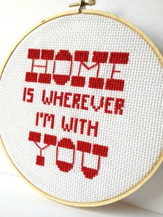 Home is Wherever I'm With You  Embroidered Hoop Art.  door GraceyMay, $42.00