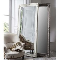 Gallery Direct Pembridge Antique Silver Rectangular Mirror - x Living Room Mirrors, Living Room Decor, Bedroom Decor, Modern Bedroom, Living Rooms, Bedroom Ideas, Master Bedroom, Mirror House, Floor Mirror