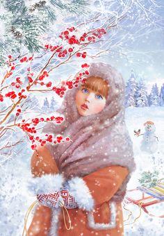 Просмотреть иллюстрацию Валюша (рисунок для новогодней открытки) из сообщества русскоязычных художников автора Анна Ходыревская   в стилях: Реализм, нарисованная техниками: Растровая (цифровая) графика.