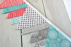 Banner Bunting, Photo Prop, Fabric Flags, Wedding, Baby Shower - Coral Pink, Teal Blue and Gray Flowers, Florals, Geometrics - Ready to Ship