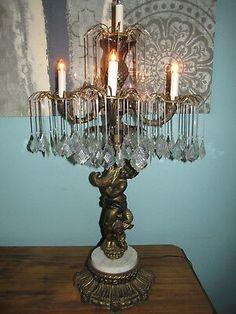 L&L WMC (???) CHANDELIER TABLE LAMP PRISM/CRYSTAL