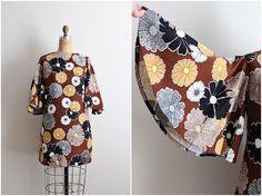 60s Angel Sleeves Boho Mini Dress / Floral Dress / Mod / 1960s