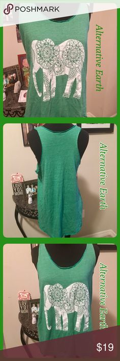 🌷Alternative Earth Green Elephant Tank Top XL Green Alternative Earth tank top with Elephant graphic on front. Kind of a T back. No flaws, just needs ironed a little! Alternitive Earth Tops Tank Tops