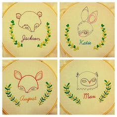 Embroidered animal family- personalize it! (Pattern from sublime stitching.com)