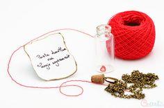 Naszyjnik Złoto Antyczne buteleczka z Twoim listem Cz-art Laboratorium kreatywności