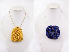 7. DIY Rope Necklace…    Photo Credit I love how both of these necklaces are made with ROPE but have a completely different design to them. This DIY jewelry …