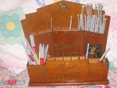 A Deco Aero knitting needle stand in my collection. I got it at a jumble sale about 20 years ago, complete with lots of very small gauge needles.