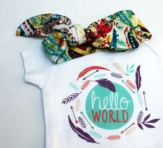 Hello World Onesie Set, Coming Home Outfit with Organic Bamboo Hat, Boho Onesie, Newborn Onesie, Baby Shower Gift, Twins Coming Home Outfit