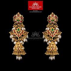 Gold Jewelry Kundan Gottupusalu Jhumkis - Earrings L : inches; W : inches Screw Type : Bombay Screw, Buy Earrings, Jewelry Design Earrings, Gold Earrings Designs, Silver Earrings, Antique Earrings, Silver Necklaces, Jhumka Designs, Necklace Designs, Indian Wedding Jewelry