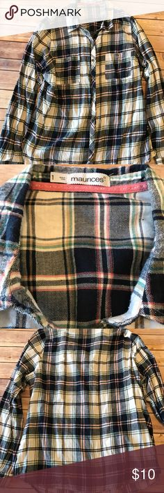 "Maurices Womens Button-up Plaid Shirts Maurices Womens Button-up Shirt, Junior Casual Plaid Shirts   Size: Junior 1 Measurements: Chest across 23"" , Length 26"" Material: 100% cotton Style: Button Down Shirt Color: Multi-color Fit: Regular Pattern: Plaid & Checks Maurices Tops Button Down Shirts"