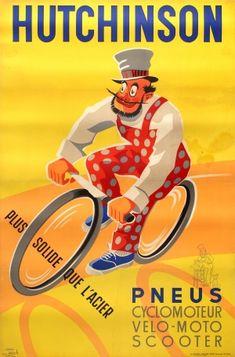Hutchinson Tyres Stronger Than Steel 1958 - original vintage poster listed on AntikBar.co.uk
