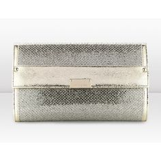 Jimmy Choo Reese L Champagne Glitter Fabric Clutch Bag ($750) ❤ liked on Polyvore
