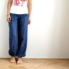 Džínová varianta pohodlných harémových / tureckých kalhot, harémovky, harémky, turky, džínovina.