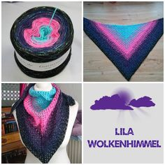 """Virustuch aus Farbverlaufsgarn """"Lila Wolkenhimmel"""" mit einem zusätzlichen Lurexfaden (Glitzer) von 500 m bis 1500 m Lauflänge, 3 bis 5fädig ab 7,40 € unter www.garnstube.de"""