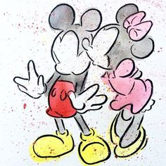 Mickey and Minnie watercolor painting by DashesofColor on Etsy Mickey Mouse Drawings, Mickey Mouse Wallpaper, Cute Disney Drawings, Cute Drawings, Drawing Faces, Arte Disney, Disney Mickey, Disney Art, Minnie Tattoo