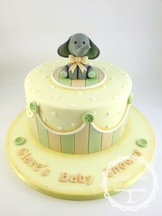 Neutral Ele Baby Shower - by LauraJaneCakeDesign @ CakesDecor.com - cake decorating website