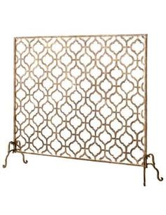 Horchow's Lexington single-panel fireplace screen with mesh backing
