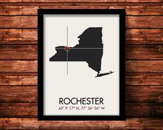 Rochester Latitude Longitude Map Art City Print 11 x 14