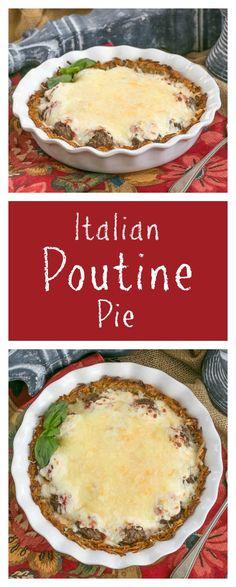 Italian Poutine Pie | A savory pie with a hash brown crust, marinara, meatballs and gooey mozzarella @lizzydo thatskinnychickcanbake.com #SundaySupper #ad @idahopotato