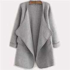 Vogue New Arrivals Plain Long Sleeve Stitch Pocket Loose Cardigan