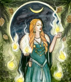"""Laufey or Nál is a figure from Norse mythology, the mother of Loki and consort of Farbauti. Eddic poetry refers to Loki by the matronym Loki Laufeyjarson.Nál means """"needle""""; according to Sörla þáttr, Laufey was also called this because she was """"both. Norse Goddess, Celtic Mythology, Brighid Goddess, Old Norse, Asatru, Norse Vikings, Illustration, Gods And Goddesses, Artemis"""