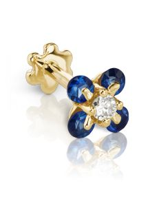 5.5mm Diamond and Blue Sapphire Clover Threaded Stud (Conch) Image #1