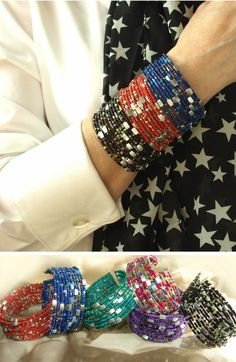 Wide Seed Bead Cuff Bracelet 6 colors $4.99