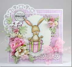 Bunny on Present–Whimsy Stamps April Release