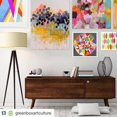 #Repost @greenboxartculture with @repostapp. ・・・ We love #abstractart. Shop our colorful collection now! #melaniemikecz #carolinewright #lesleygrainger #artprints #canvaswallart