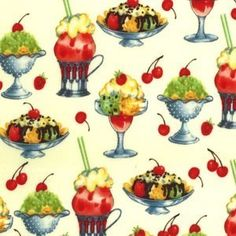 Creme Sundaes Cotton fabric from Michael Miller by thedizzydaizy Baby Fabric, Cotton Fabric, Michael Miller Fabric, Coordinating Fabrics, Frozen Yogurt, Crafty, Quilts, Sorbet, Gelato