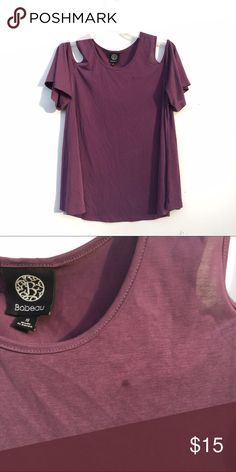 Purple Cold Shoulder Top Swingy trapeze style purple top with cold shoulder cut outs. Small stain on front of top. bobeau Tops Tees - Short Sleeve