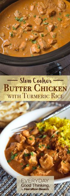 Slow Cooker Butter Chicken with Turmeric Rice #chickenfoodrecipes