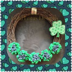 "St. Patrick's Day Grapevine Wreath with Handmade Felt Flowers & Wood 4-Leaf Clover Decoration, 14"" - Gold Lotus Designs ** Custom Handmade Crafts by Kim Lynn ** www.facebook.com/GoldLotusDesigns"
