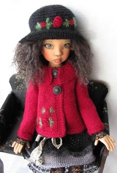 "Hand Knit Doll Outfit Set for BJD Doll 18"" Kaye Wiggs"