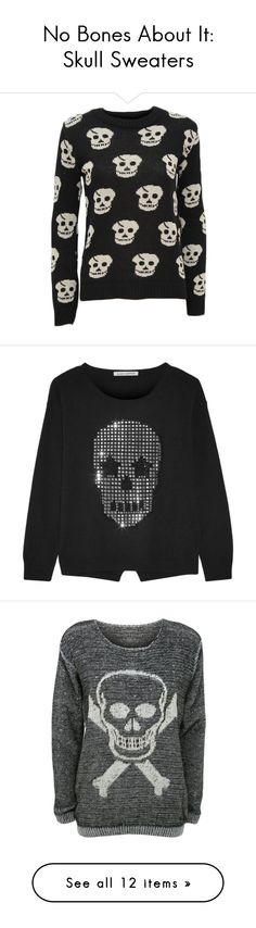 """""""No Bones About It: Skull Sweaters"""" by polyvore-editorial ❤ liked on Polyvore featuring skullsweater, tops, sweaters, black, black crewneck sweater, black long sleeve sweater, crewneck sweater, long sleeve crew neck sweater, jumpers sweaters and skull sweater"""