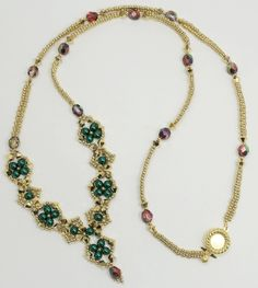 Beaded Necklace by Deb Roberti. Beads Used: Size 11 seed beads, 4mm bicone beads, 4mm round beads and 6mm fire-polished beads
