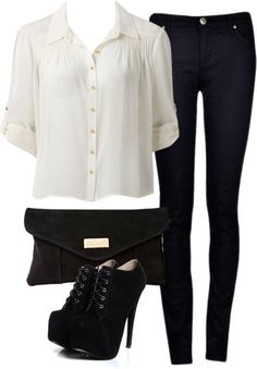 Eleanor inspired graduation outfit with black skinny jeans Lace blouse, $83 / Denim skinny jeans / Black high heels / River Island black envelope clutch, $42