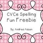 CVCe Spelling Fun Freebie!    This makes a great center activity!  Just print the picture cards onto cardstock and laminate for durability.  Studen...