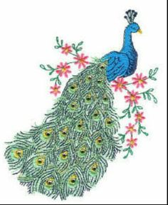 Peacock Embroidered Machine Embroidery