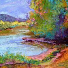 12 x 12 pastel, On the Hiwassee - Susan Doubleday